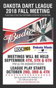DM dakota darts league fall meeting 2018