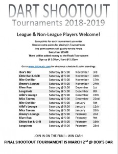 Dart Shootout Tournaments 2018-2019